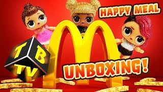 LOL Surprise Dolls Glitter Series and McDonald's Happy Meal Unboxing! Featuring Queen Bee, & Fancy!