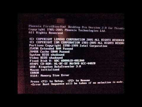 [SOLUCION] 2 beeps y enciende (error 0164 BIOS IBM)