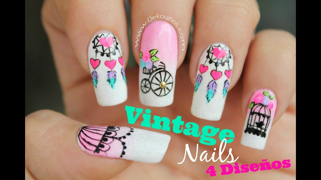 Decoracion De Unas Vintage 4 Disenos Vintage Nail Art Youtube