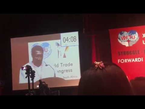 South African Communist Party leader Eric 'Stalin' Mtshali at WFTU Congress