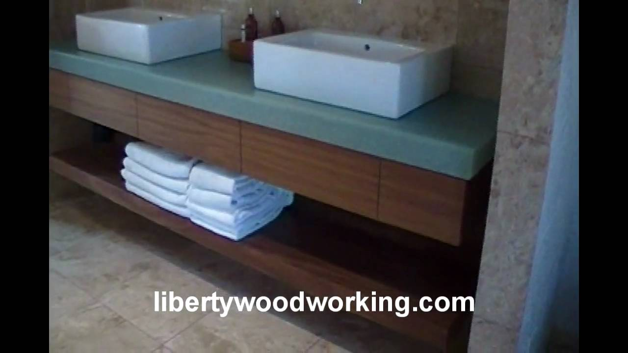 Floating bathroom sink vanity cabinet - YouTube