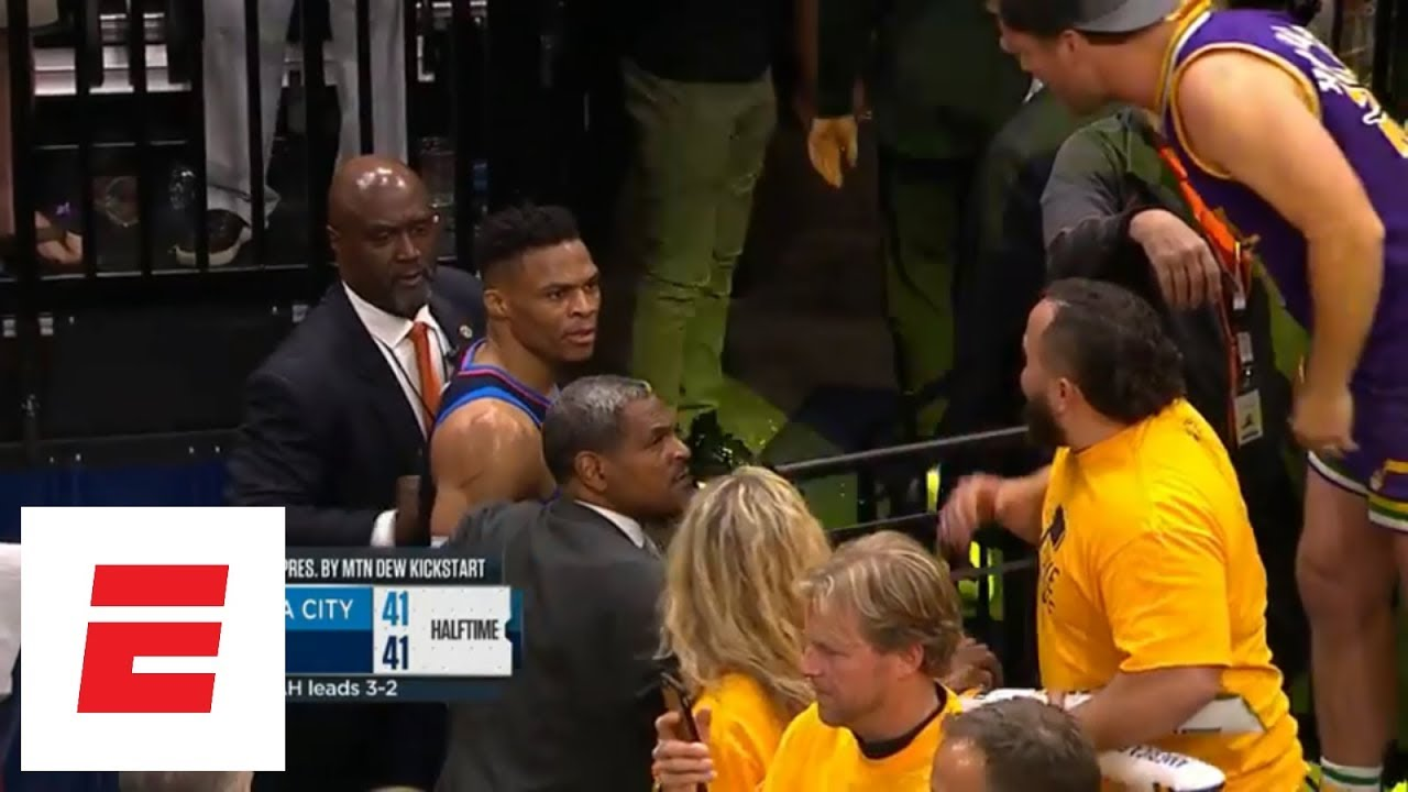 Russell Westbrook gets into it with Jazz fan coming off the floor for halftime | ESPN