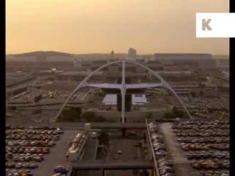 Los Angeles Airport, Theme Building, Car Park, 1970s, 1980s, Archive Footage
