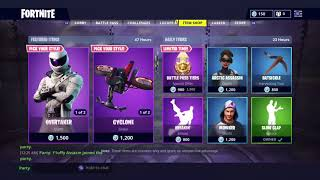 Fortnite *NEW* Overtake and Whiteout Skin, cyclone and white squall glider!!
