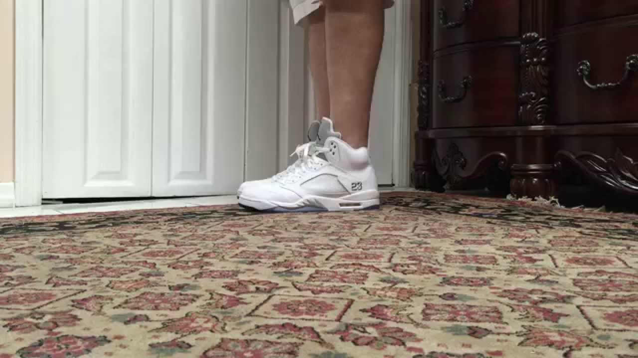 3f60ae55a6e303 Air Jordan 5 V White Metallic Silver On Foot - YouTube