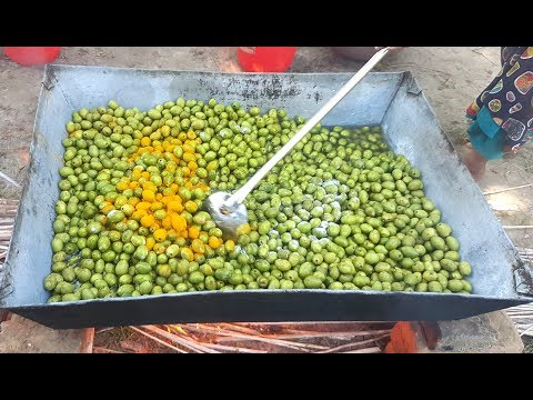 Tasty Olives Fruit Pickle Prepared/Cooking By Women | Different Style Pickle For Kids & Villagers