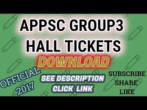 APPSC GROUP3 HALL TICKET DOWNLOAD 2017