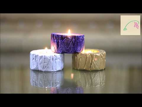 DIY Cement Candle holder with wood texture