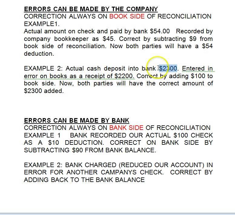 BANK RECONCILIATION ERROR TREATMENT - YouTube - bank reconciliation example