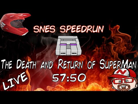 The Death and Return of Superman (SNES) - Full Game 57:50 Speedrun *Obsolete