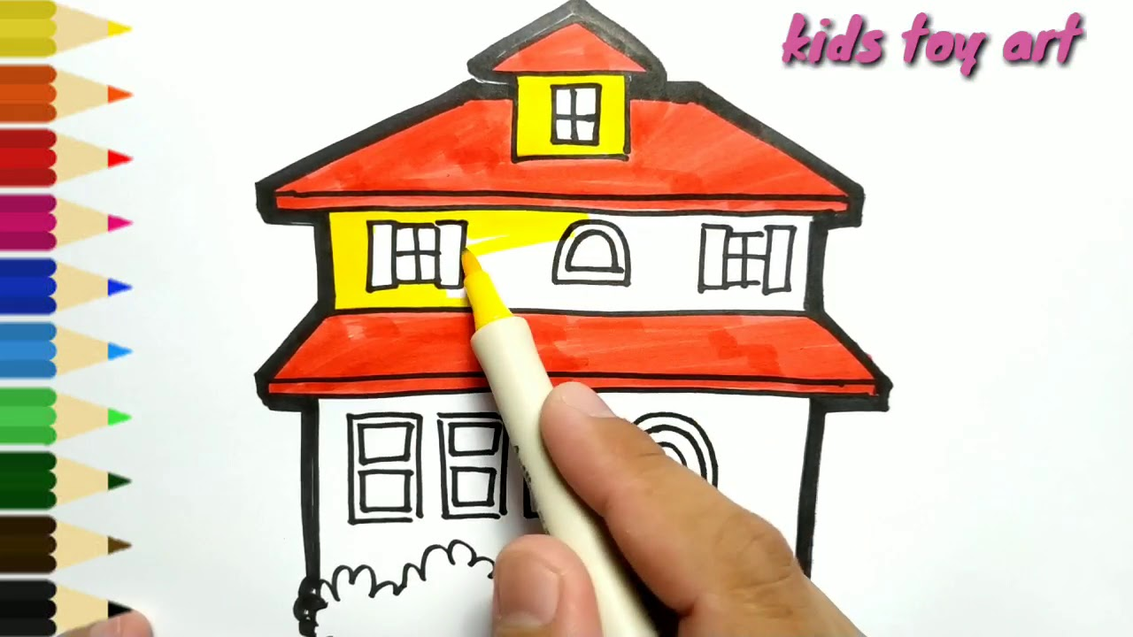Very Easy How To Draw Beautiful House Drawing And Coloring For Kids Toddlers Youtube