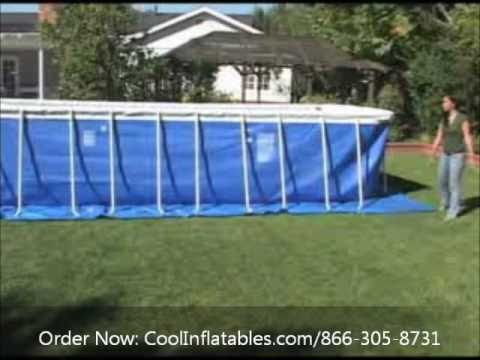 Intex rectangular metal frame pool setup instructions youtube for Intex rectangular swimming pool