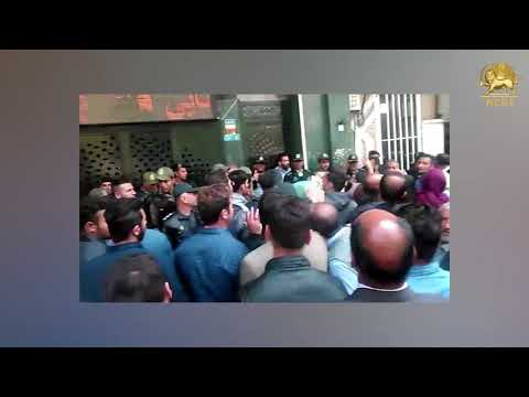 TEHRAN, Iran. Apr. 8, 2018: Protest gathering of creditors of ' Alborz' financial institution