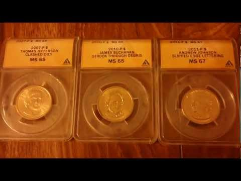 Anacs Graded Presidential Dollar Error Coins