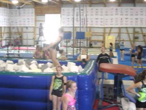 Hand Front Vault Into Air Pit With A Safe Crash Landing At