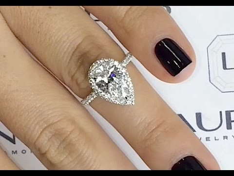 1 60 Ct Pear Shape Diamond Halo Engagement Ring Youtube
