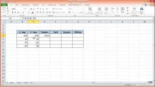 Excel'de Basit Dört İşlem