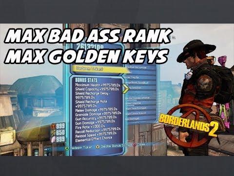 Borderlands 2 - Max Bad Ass Rank / Max Golden keys ( GPD EDITOR )