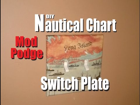 DIY Mod Podge Nautical Chart Switch Plate Cover 1