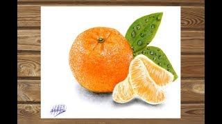 Dibujo realista de una mandarina | HD| Realistic drawing of mandarin