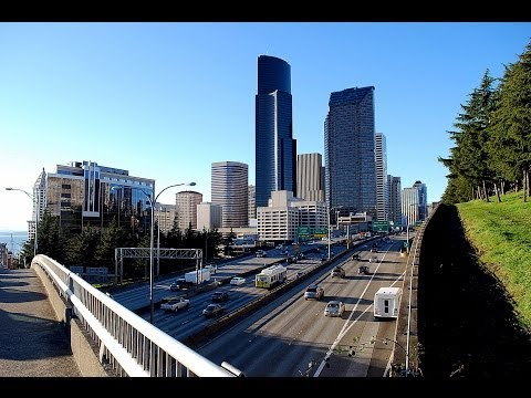 Seattle Skyline (Downtown) - Driving I-5 North (WA)