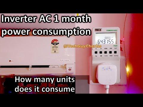 1 month 1.5 Ton Inverter AC kWh unit power consumption during peak summers