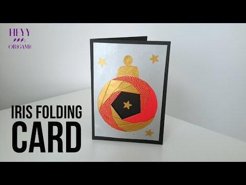 Iris Folding Origami Card-How to make iris folding christmas ornament card