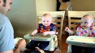 Baby Boy Giggles and Laughs  Hysterically While Twin Sister Tries to Figure Out What's Funny!
