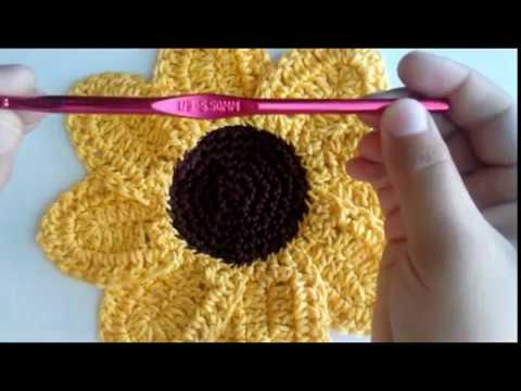 Sunflower Washcloth Crochet Tutorial