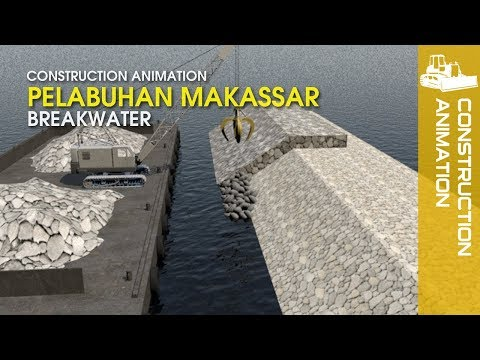 Construction Video - Makassar Breakwater | Port Animation