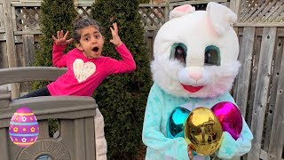 Sally Pretend Play with Easter Bunny Suprise Egg hunt in real life!!!