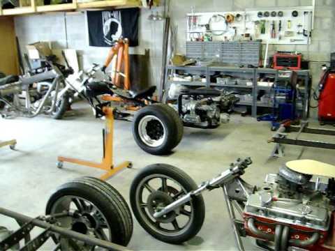 Wild Man Trikes shop with V8 and Porsche trikes under construction.