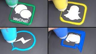 Messenger App Logo pancake art - wechat, facebook messenger, snapchat, discord