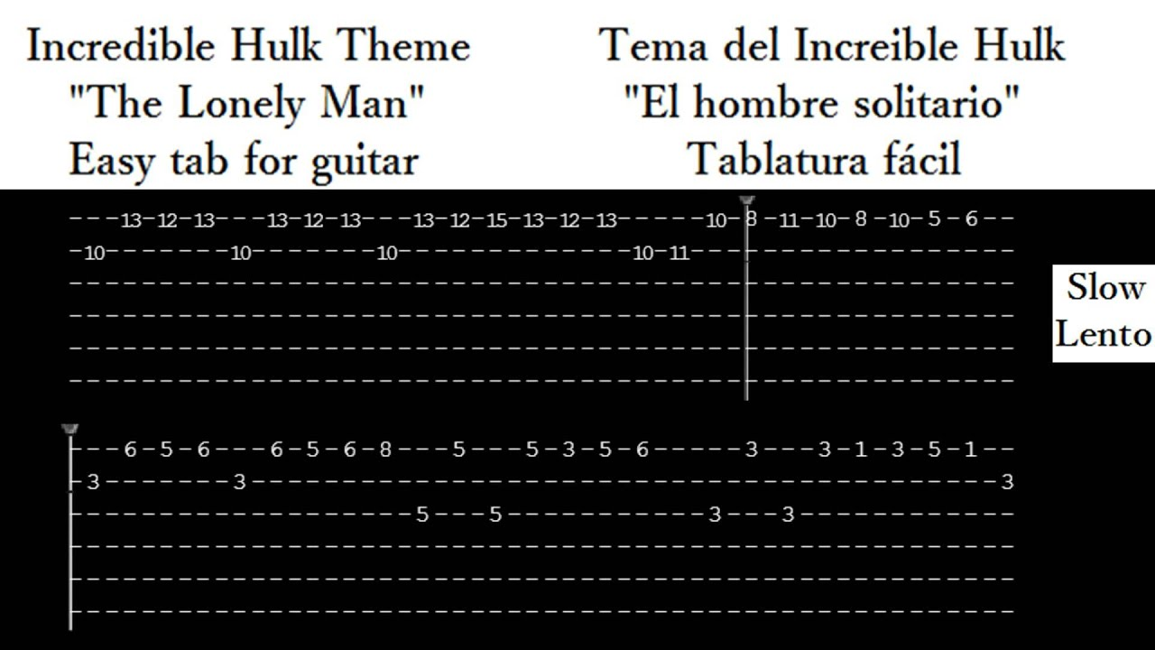 The Lonely Man - The Incredible Hulk theme - guitar tab EASY - YouTube