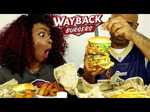 WAYBACK BURGERS TRIPLE TRIPLE CHALLENGE MUKBANG! MAC & CHEESE BITES, ONION RINGS, & OREO MUD PIE!