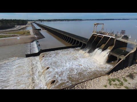 Flying Over Lake Houston Dam