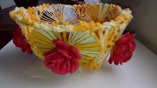 DIY fruteira de cds reciclados com crochê e aplique de rosas de E.V.A