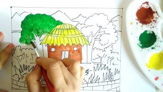 How To Draw A FarmHouse With Simple Steps | Beautiful Scenery painting tutorial