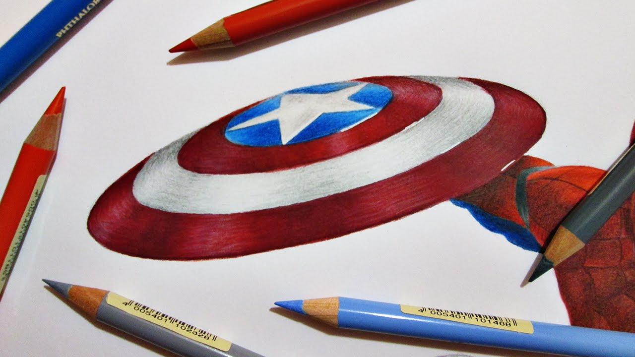 Captain America Shield Drawing: Speed Drawing Captain America's Shield