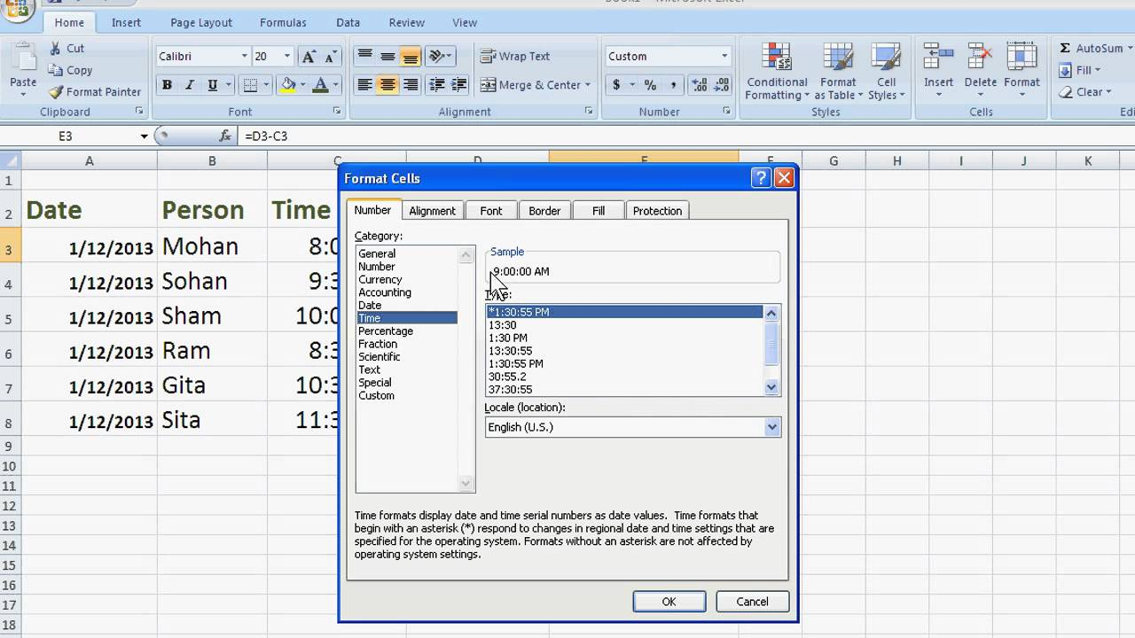 How to Calculate Hours Worked in Excel 2007