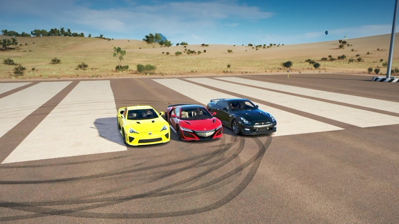 Forza Horizon 3: 2017 Acura NSX vs 2012 Nissan GT-R vs 2010 Lexus LFA Drag Race - YouTube