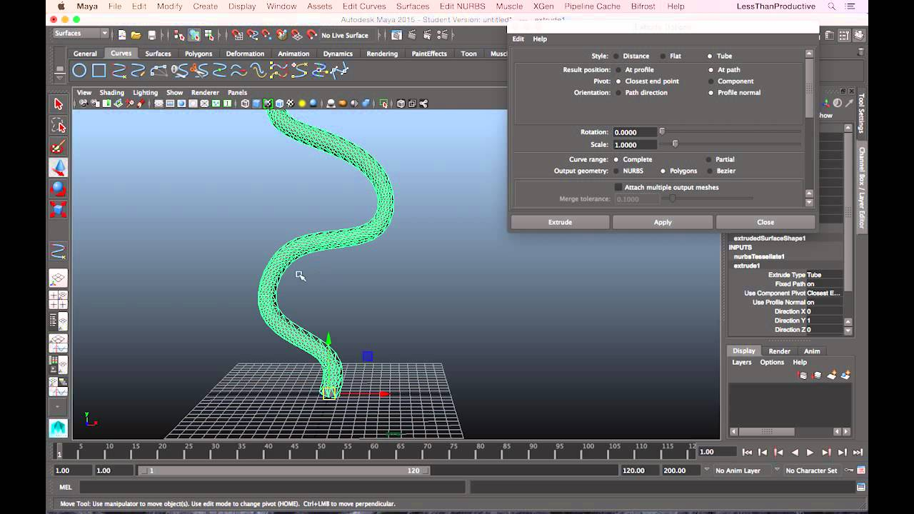 extruding along a curve tutorial in maya