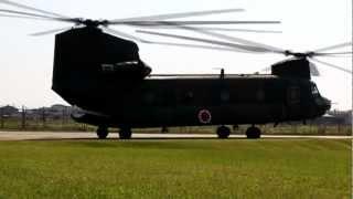 陸上自衛隊 八尾駐屯地の57周年記念行事。 チヌークの地上滑空を見てる...