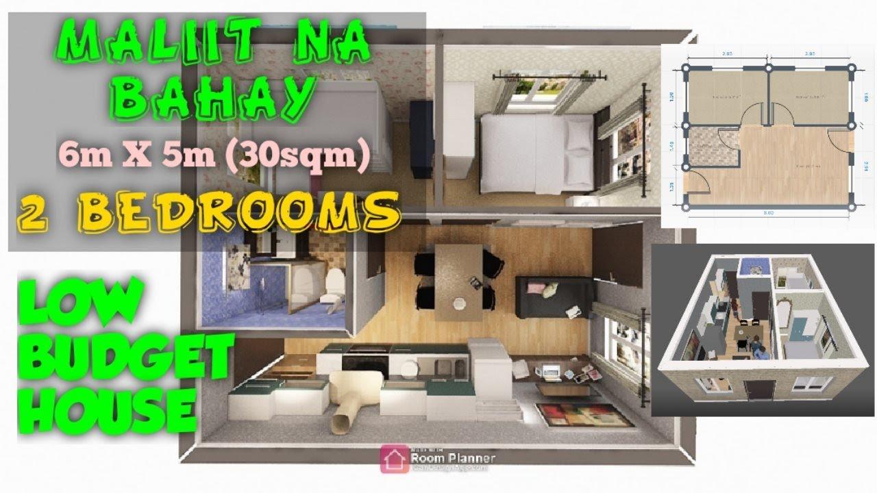 Low Budget 2 Bedroom House Maliit Na Bahay 6m X 5m 30sqm Minimalist Floor Plan Youtube