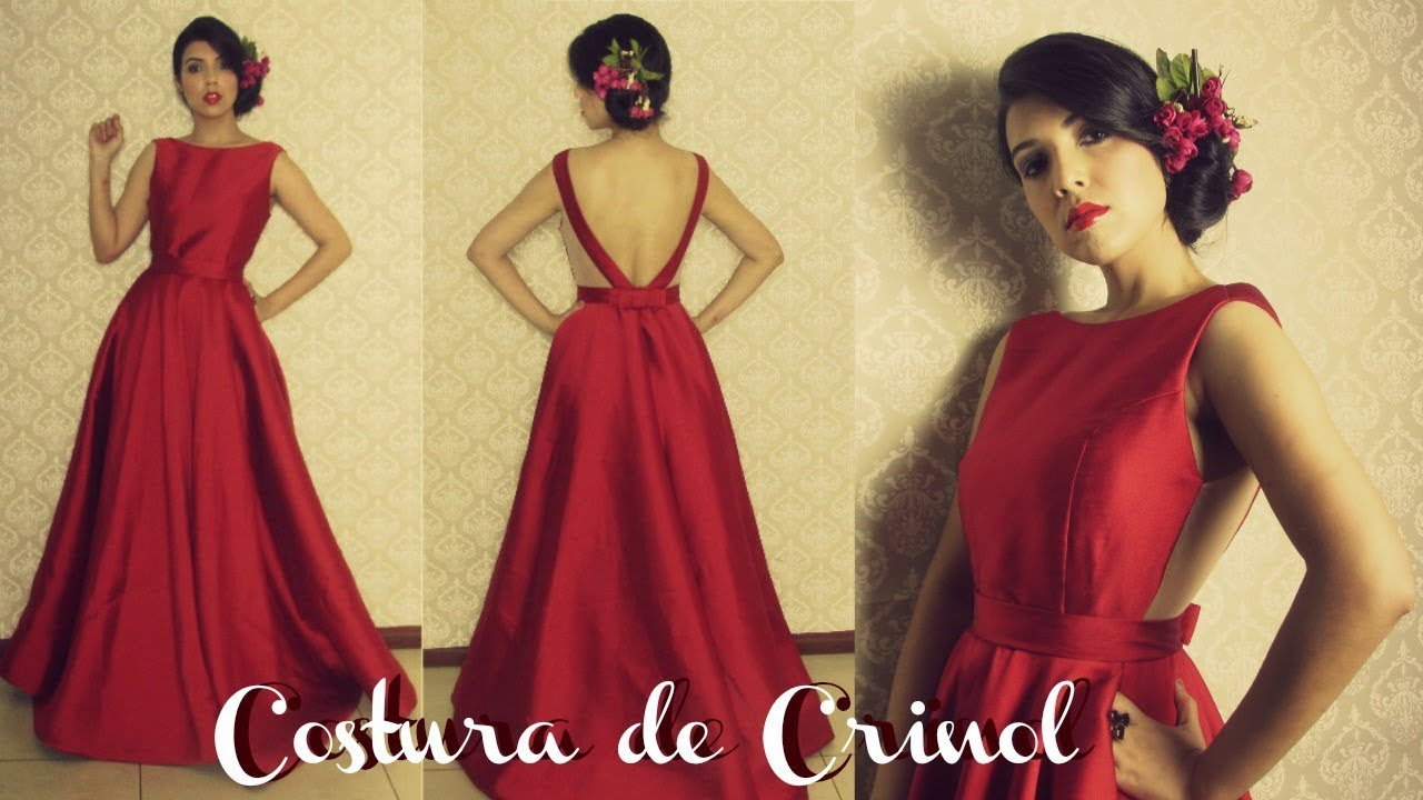 aa055d5e3a Vestido de Festa - Costura da Saia com Crinol na Barra - YouTube