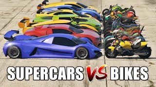 GTA 5 ONLINE - SUPERCARS VS BIKES PART#01 (WHICH IS FASTEST?)