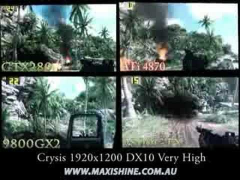 Crysis 4870 vs GTX280 vs 9800GX2 vs 9800GTX Maxishine Review