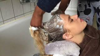 Relaxing Hair wash Massage