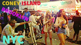 NEW YORK CITY | NIGHT TIME | NYC Streets, RUSSIAN GIRLS, Coney Island, July 4th 2021, USA 4K