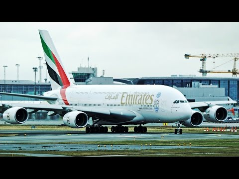 "The Mighty Emirates A380 ""Superjumbo"" - Landing and Takeoff in Copenhagen Airport"